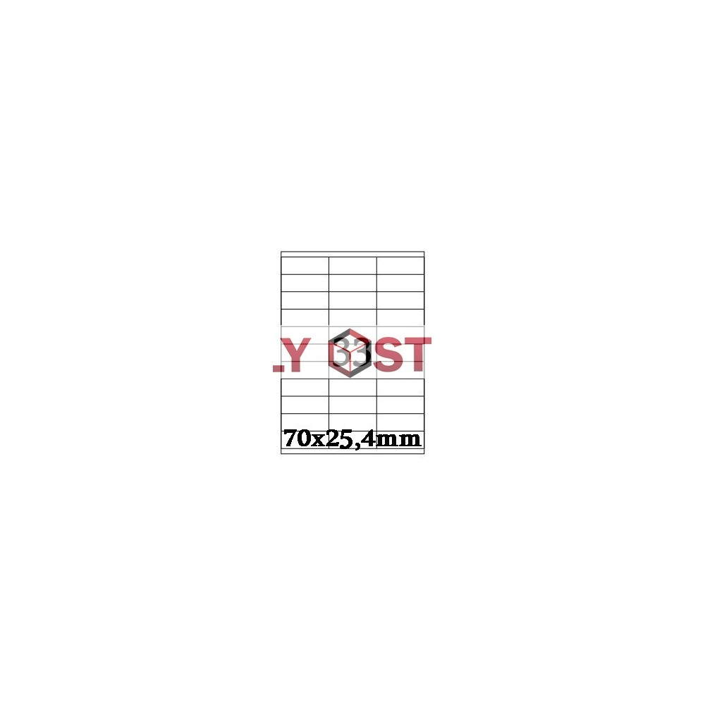 Etikety A4 - 70x25,4mm - 100stránek
