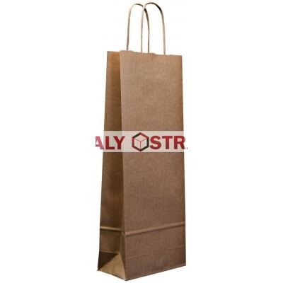 Papírová taška na láhev - 120x400x70mm kroucené uši